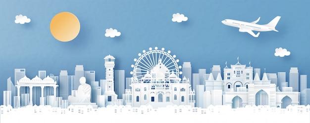 Vista panorâmica de ahmedabad, índia com skyline de templo e cidade com monumentos famosos do mundo em estilo de corte de papel Vetor Premium