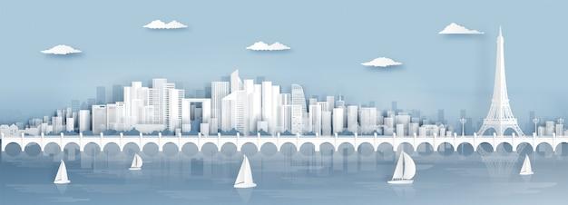 Vista panorâmica, de, paris, frança skyline, com, mundialmente famosa, marcos Vetor Premium