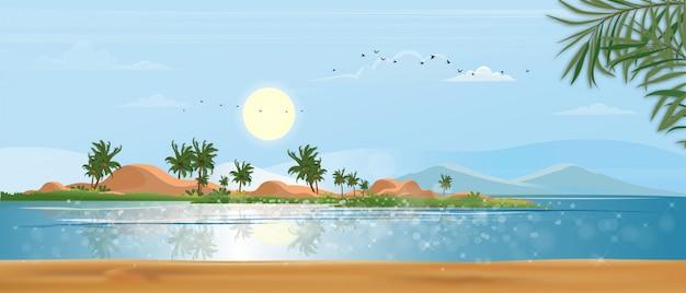 Vista panorâmica seascape tropical do oceano azul e palmeira de coco na ilha, praia panorâmica do mar e areia com céu azul, natureza de estilo plano de ilustração da beira-mar paisagem para férias de verão Vetor Premium