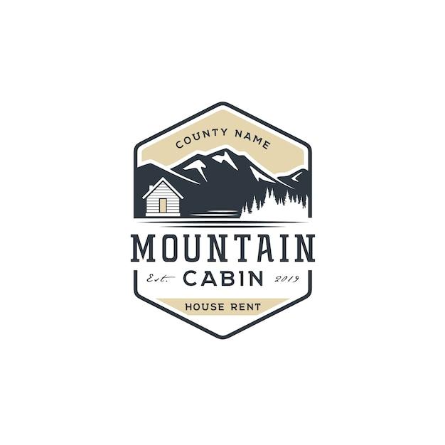 Vista para a montanha com cabine para logotipo de aluguel de casa de aldeia Vetor Premium
