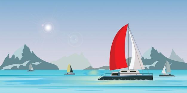 Vista para o mar azul com iate de navio de vela de luxo no mar em fundo de vista para o lago Vetor Premium