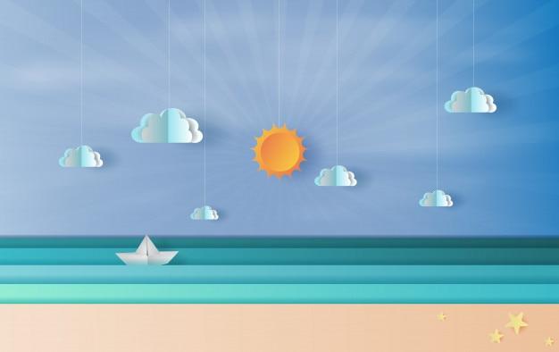 Vista para o mar com um barco à vela flutuante no céu azul Vetor Premium