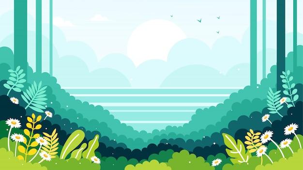 Vista para o mar na borda da ilustração da floresta Vetor Premium