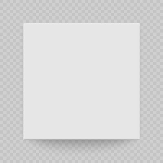 Vista superior da caixa com sombra. mock up modelo 3d. branco realista em branco Vetor Premium