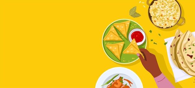 Vista superior da ilustração de comida indiana Vetor Premium
