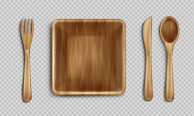 Vista superior da placa, garfo, colher e faca de madeira. Vetor grátis