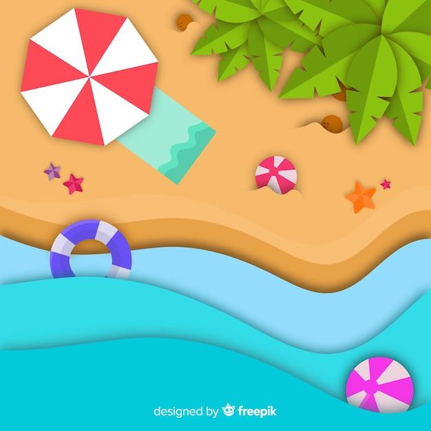 Vista superior da praia em estilo de papel Vetor grátis