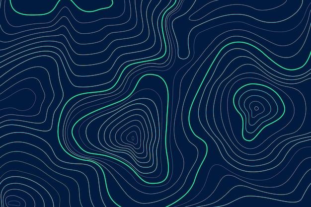 Vista superior das linhas de contorno do mapa topográfico Vetor Premium