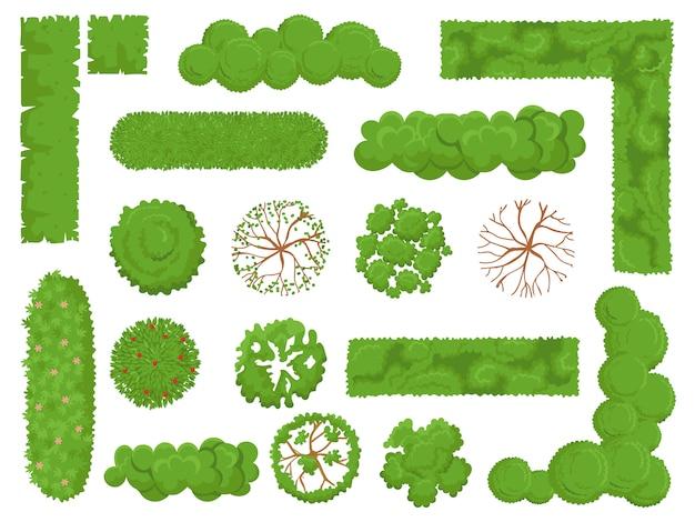 Vista superior de árvores e arbustos, árvore da floresta, arbusto de parque verde e planta mapa elementos olham acima conjunto isolado Vetor Premium