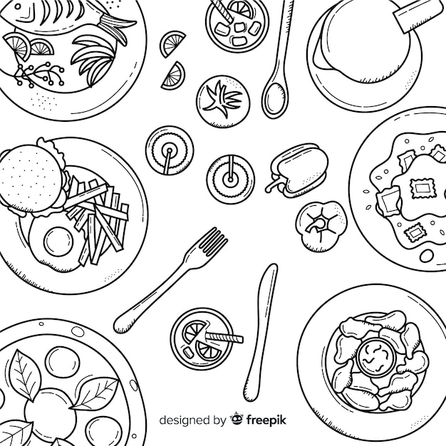 Vista superior de pratos na mesa do restaurante Vetor grátis