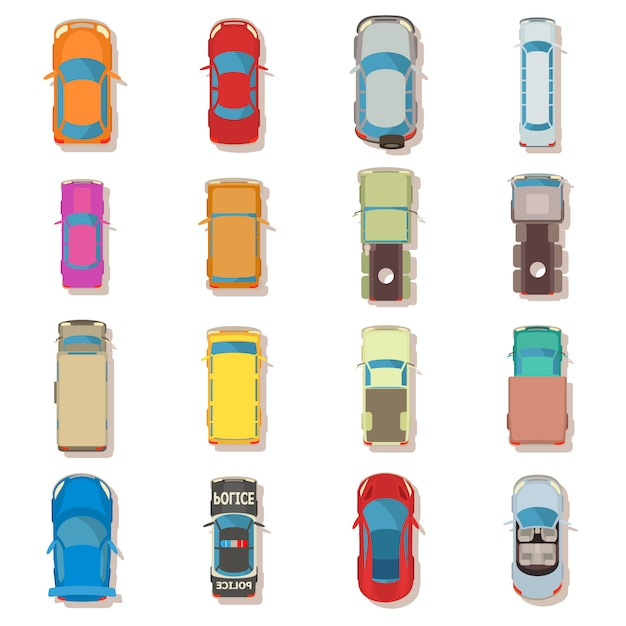Vista superior do carro acima sobre o conjunto de ícones. ilustração plana de 16 carros vista superior acima sobre ícones vetoriais para web Vetor Premium
