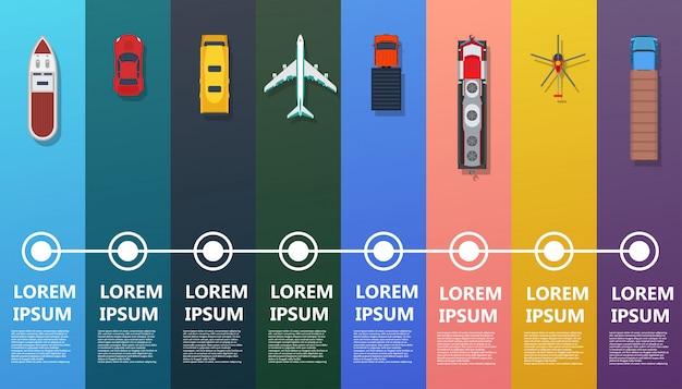 Vista superior do transporte infográfico. ônibus plano, navio, caminhão, trem, avião, helicóptero, carro. Vetor Premium
