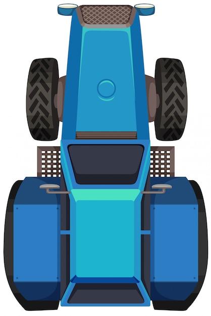 Vista superior do trator azul Vetor grátis