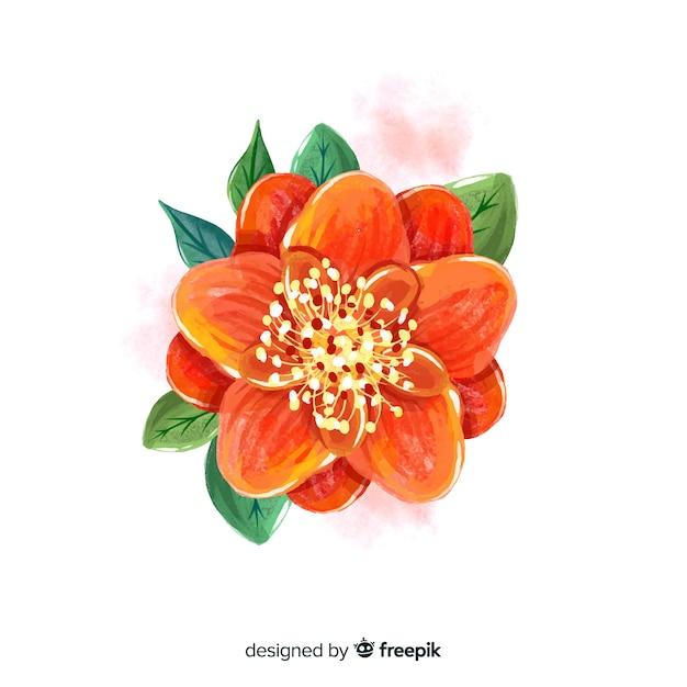 Vista superior flor de laranjeira com folhas Vetor grátis