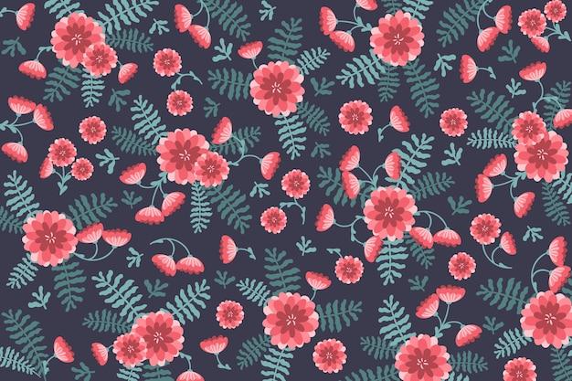 Vista superior fundo com flores e folhas Vetor grátis