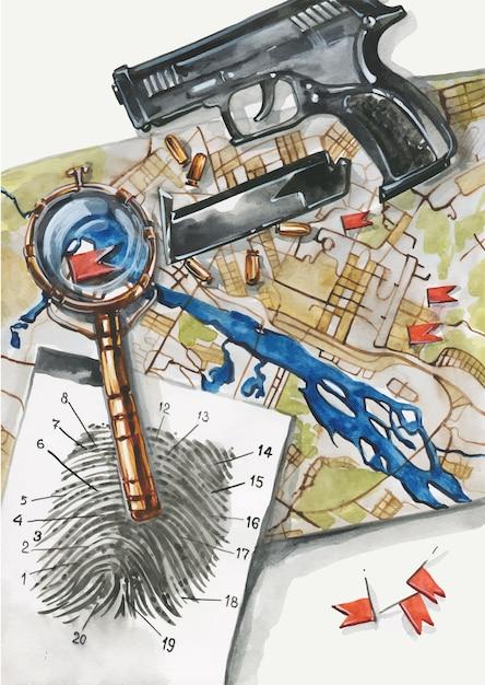 Vista superior ilustração do espaço de trabalho do detetive ou policial. arma, impressão digital, evidência, mapa, lupa, balas. ilustração conceitual plana leiga de crime Vetor Premium