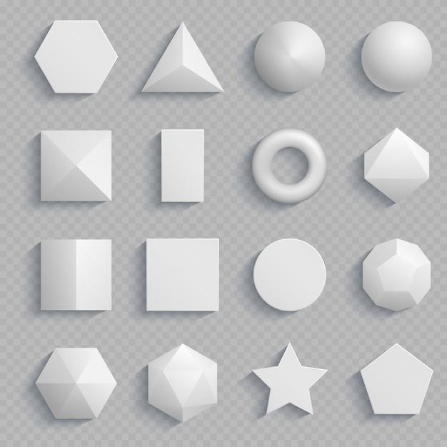 Vista superior matemática realista formas básicas isoladas em transparente Vetor Premium