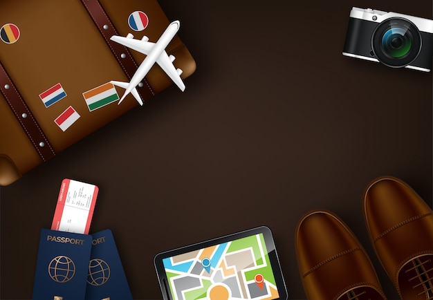 Vista superior no fundo do conceito de viagens e turismo Vetor Premium