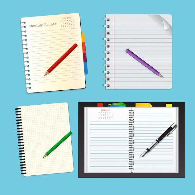 Vista superior notebook set para educação Vetor Premium