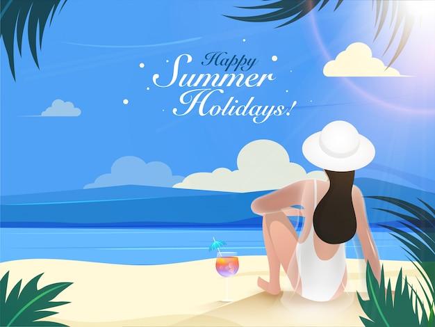 Vista traseira, de, mulher jovem, sentando, ligado, praia, fundo, para, feliz, verão, feriados Vetor Premium