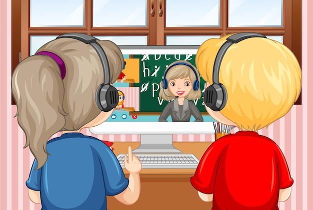 Vista traseira de um casal olhando para o computador para aprender online em casa Vetor grátis