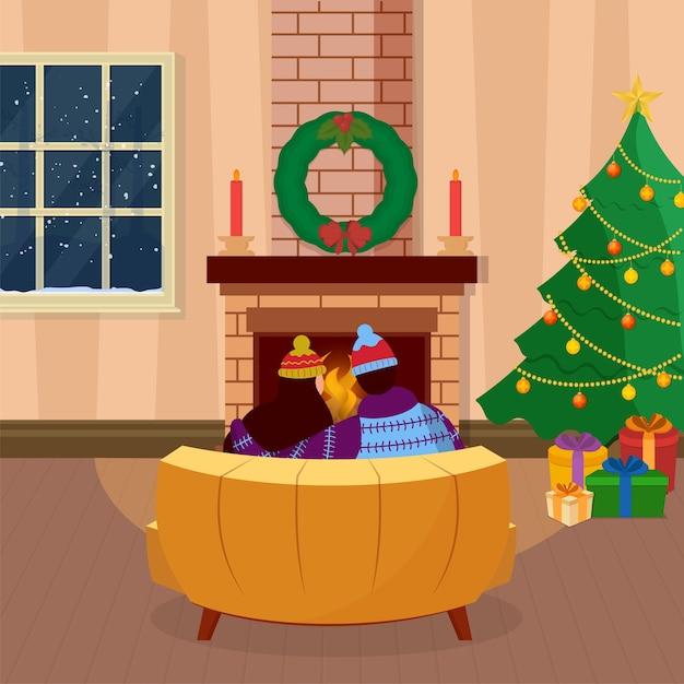 Vista traseira de um casal sentado no sofá em frente à lareira Vetor Premium