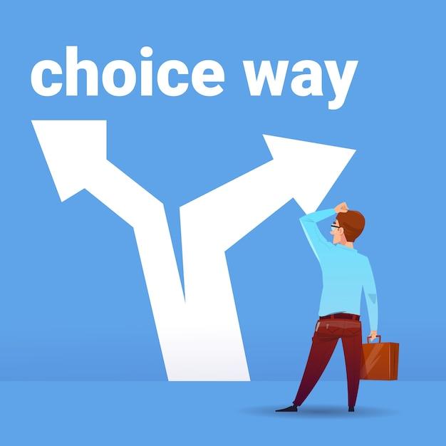 Vista traseira, empresário, pensando, confusão, negócio, escolhendo, maneira, direção, financeiro, conceito, azul, fundo Vetor Premium