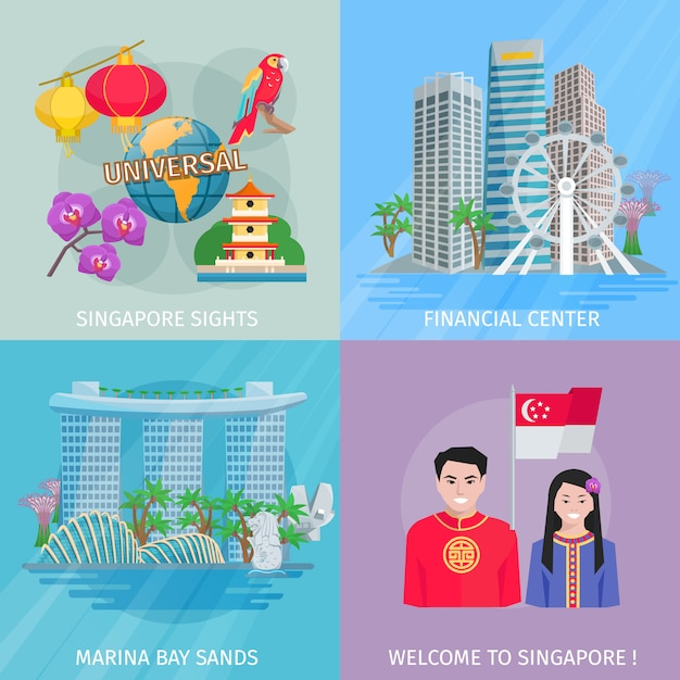Vistas de singapura 4 bandeira quadrada de ícones plana com marina bay e centro financeiro vetor abstrato Vetor grátis