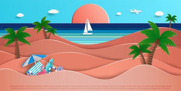 Vistas para o mar no verão Vetor Premium