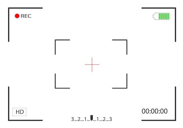 Visualização da câmera e foco na gravação de tela. visor do quadro da câmera. Vetor Premium