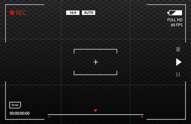 Visualização da câmera visualizando imagens. foco na tela visual. vetor Vetor Premium