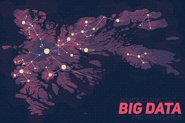 Visualização de big data do terreno. infográfico de mapa futurista. visualização gráfica de dados topográficos complexos. dados abstratos no gráfico de elevação. imagem colorida de dados geográficos. Vetor grátis