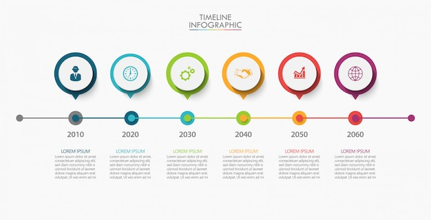 Visualização de dados corporativos. infográfico de linha do tempo Vetor Premium