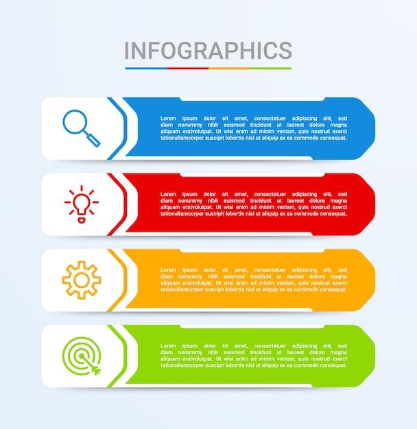 Visualização de dados de negócios, modelo de infográfico com 4 etapas em fundo azul Vetor Premium