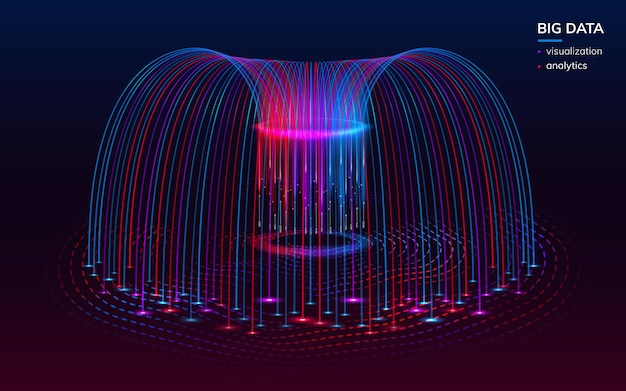Visualização fractal de big data digital para plano de fundo infográfico. elementos do infochart bigdata ou papel de parede tecnológico abstrato. analisar e analítico, pano de fundo da ciência. planejamento, comportamento de dados Vetor Premium