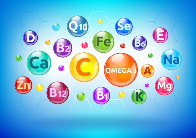 Vitamina e complexo mineral, bolhas coloridas, bolas com letras Vetor Premium
