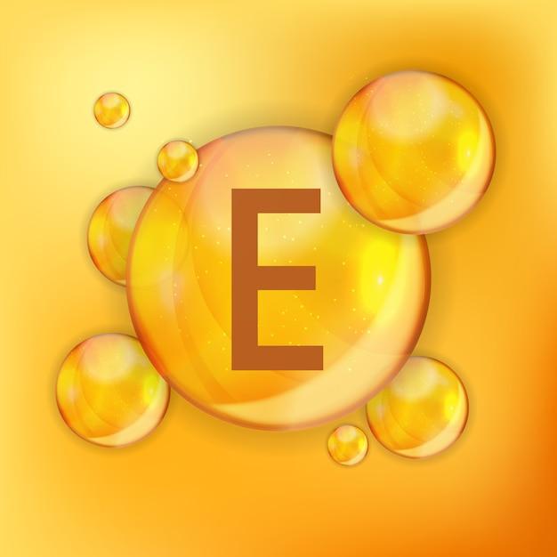 Vitamina e ícone antioxidante. ilustração Vetor Premium