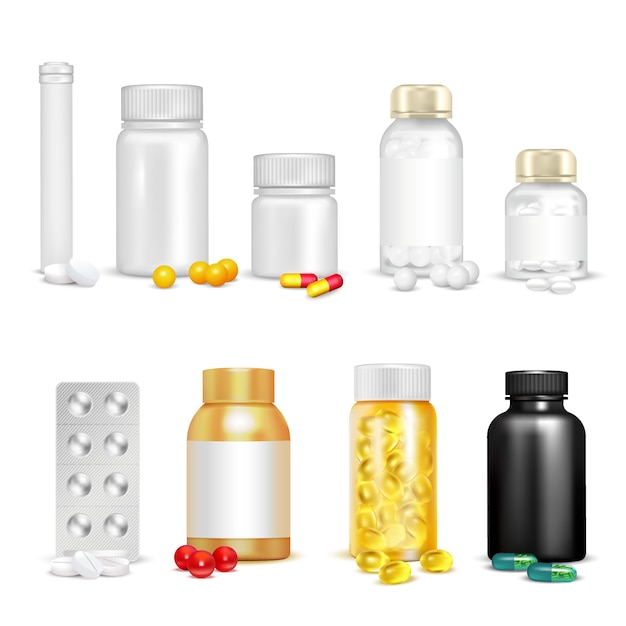 Vitaminas 3d e conjunto de embalagem Vetor grátis