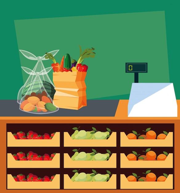 Vitrine de loja com alimentos frescos e máquina registradora Vetor Premium