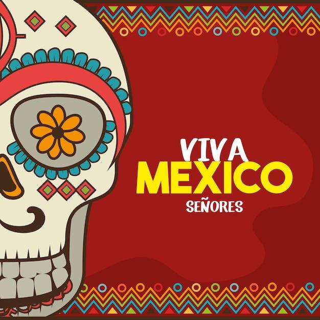 Viva méxico cartaz celebração ilustração vetorial design Vetor Premium
