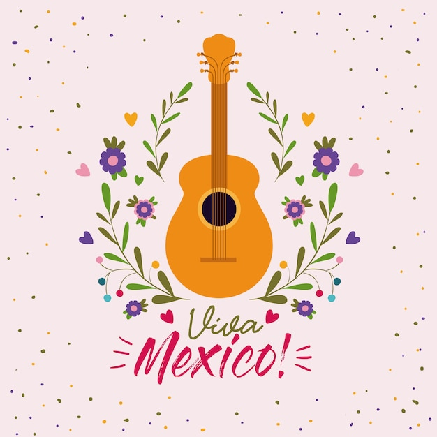 Viva Mexico Poster Colorido Com Violao Acustico Vetor Premium