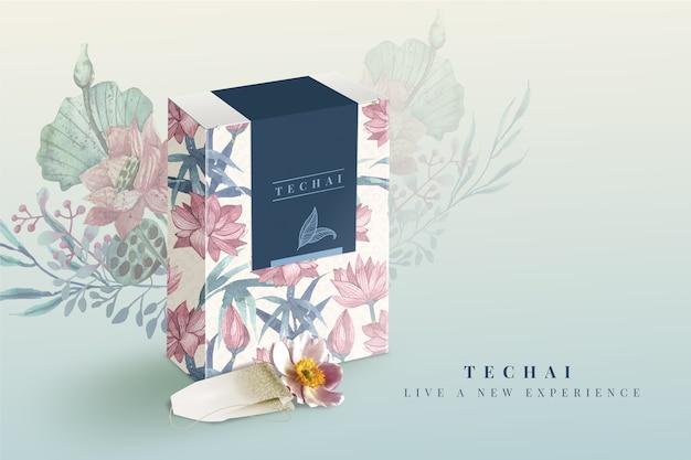 Viva uma nova experiência em aquarela de anúncios de chá Vetor grátis
