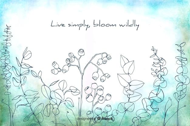 Viver simplesmente florescer descontroladamente aquarela floral fundo Vetor grátis
