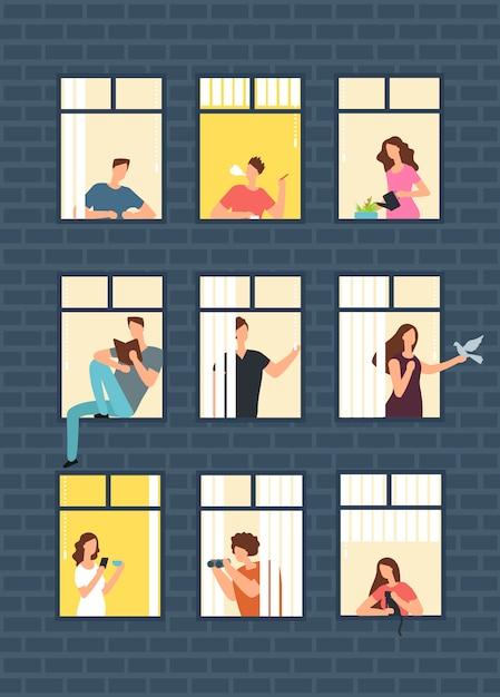 Vizinhos, caricatura, pessoas, em, apartamento, casa, janelas Vetor Premium