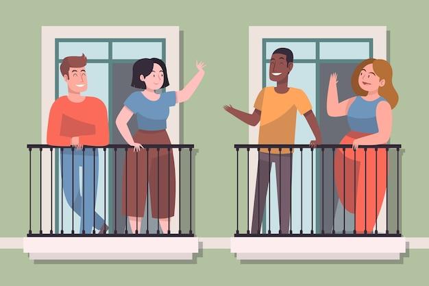 Vizinhos no conceito de ilustração de varanda Vetor Premium