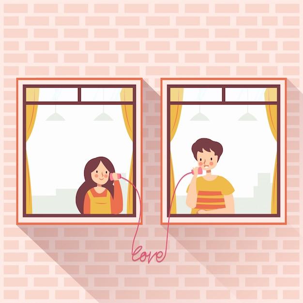 Vizinhos românticos casal chamando amor Vetor Premium