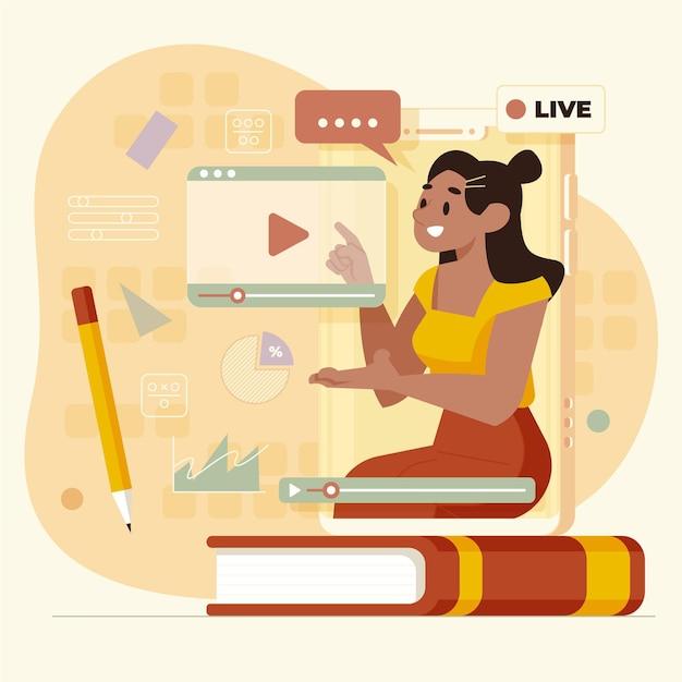 Vlogger em ilustração de mídia social Vetor grátis