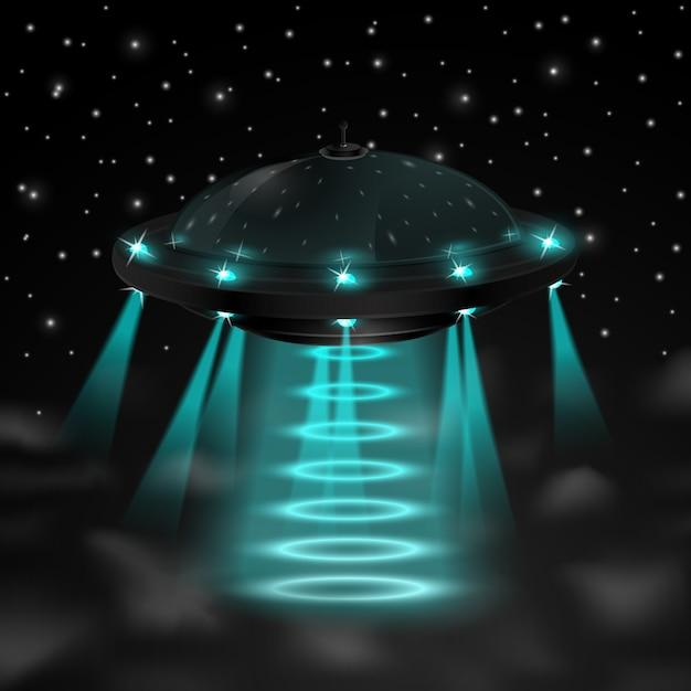 Voando ufo na noite Vetor grátis