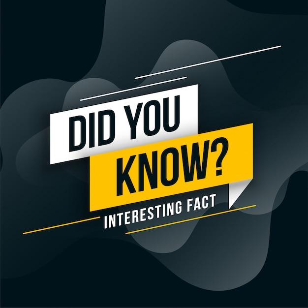 Você conhecia o design de fatos interessantes Vetor grátis