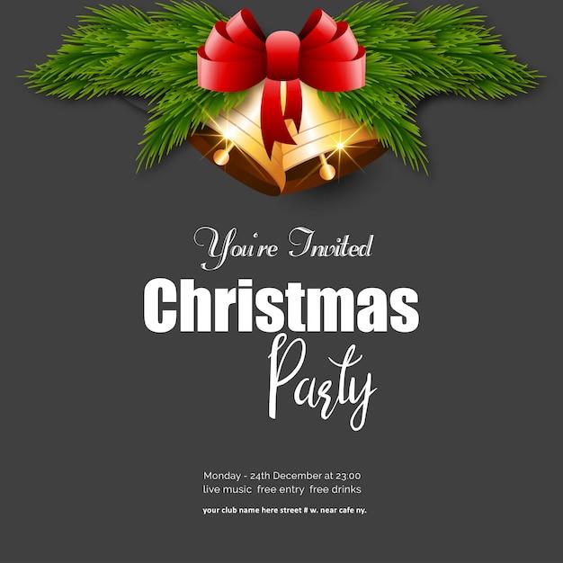 Você é convidado para a festa de natal jingle bell background Vetor Premium